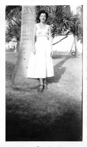 Black and White Vintage Snapshot Photograph Sexy Woman Dress Palms 1940's