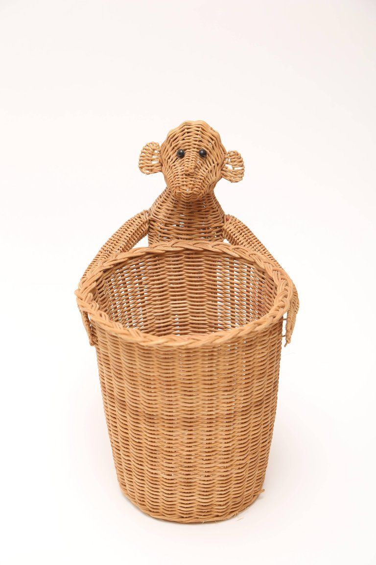 Mario lopez torres monkey waste basket or trash can for sale at 1stdibs