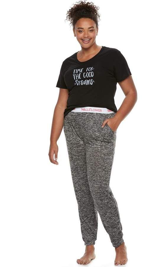 4beb86ad71a39 Juniors  Plus Size Wallflower Pajamas  Graphic Tee   Hatchi Jogger Pants  2-Piece PJ Set