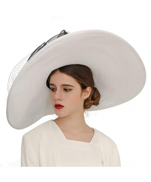01b4b39df40 Women Hats Church Hats Exaggeration Designer Fashion Lady Wide Brim Hats -  White - CB18DAISGIZ