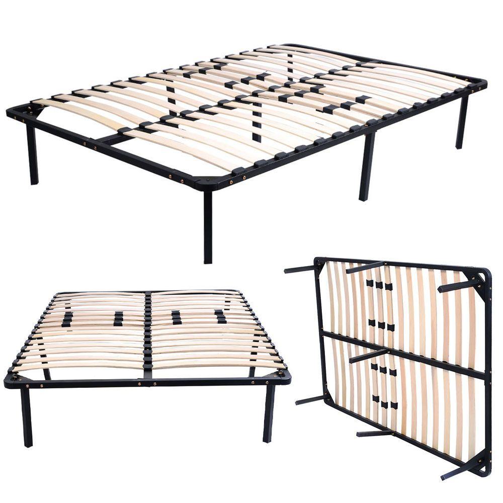 Wood Slats Metal Bed Frame Platform Bedroom Mattress Foundation 5 Size Bed Frame Mattress Metal Bed Frame Metal Platform Bed