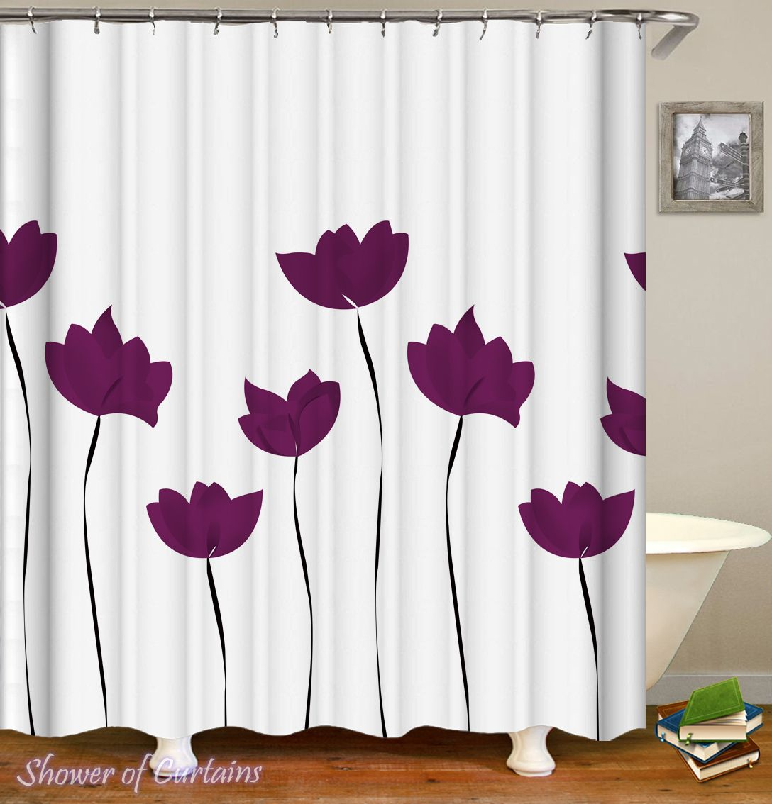 Purple Tulip Drawing Shower Curtain Hxtc0073 In 2020 Fabric