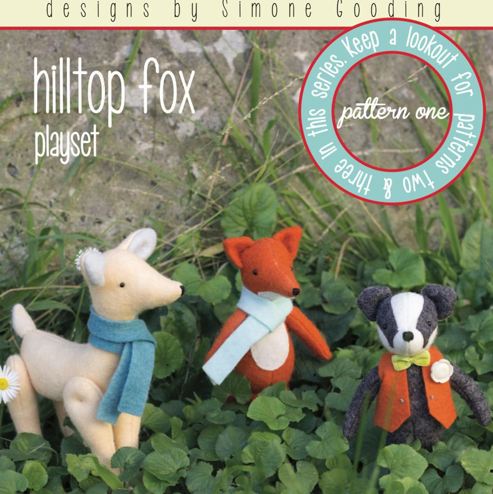 PATTERN May Blossom Hilltop Fox Playset 1 felt softie animals PATTERN
