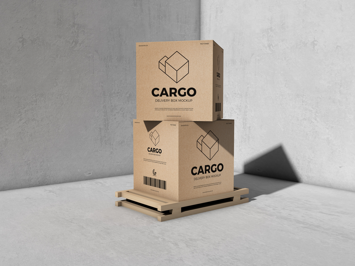 Download Free Packaging Cargo Delivery Box Mockup Free Packaging Mockup Box Mockup Packaging Mockup