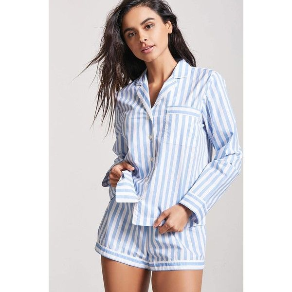 Forever21 Stripe Pajama Shirt   Shorts Set ( 23) ❤ liked on Polyvore  featuring intimates 4d963927c