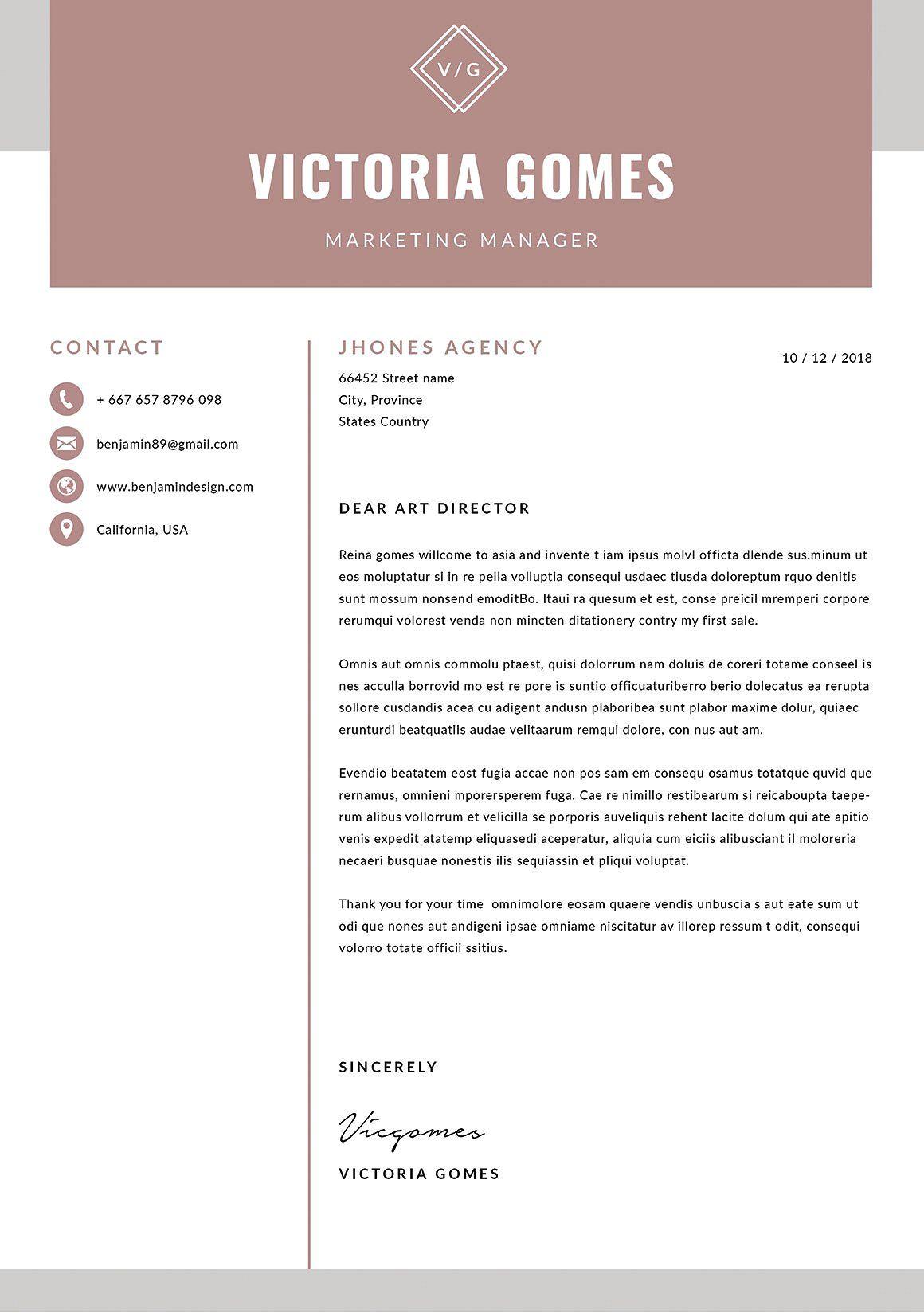 Resume/CV Victoria Resume cv, Cover letter template