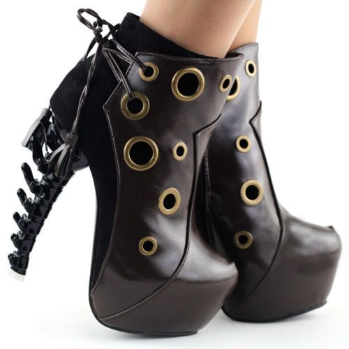 Punk-Red-Brown-Ring-Lace-Up-Bone-Heel-Platform-Ankle-Boots-Size-4-5-6-7-8-9-10
