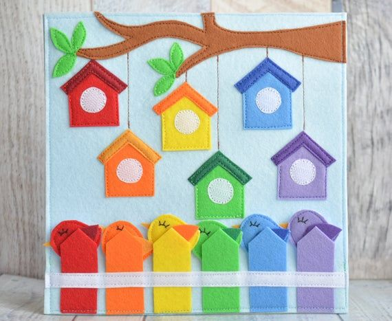 Photo of Educational quiet toddler book page Busy sensory board Felt Montessori baby toy One page 1-4 year