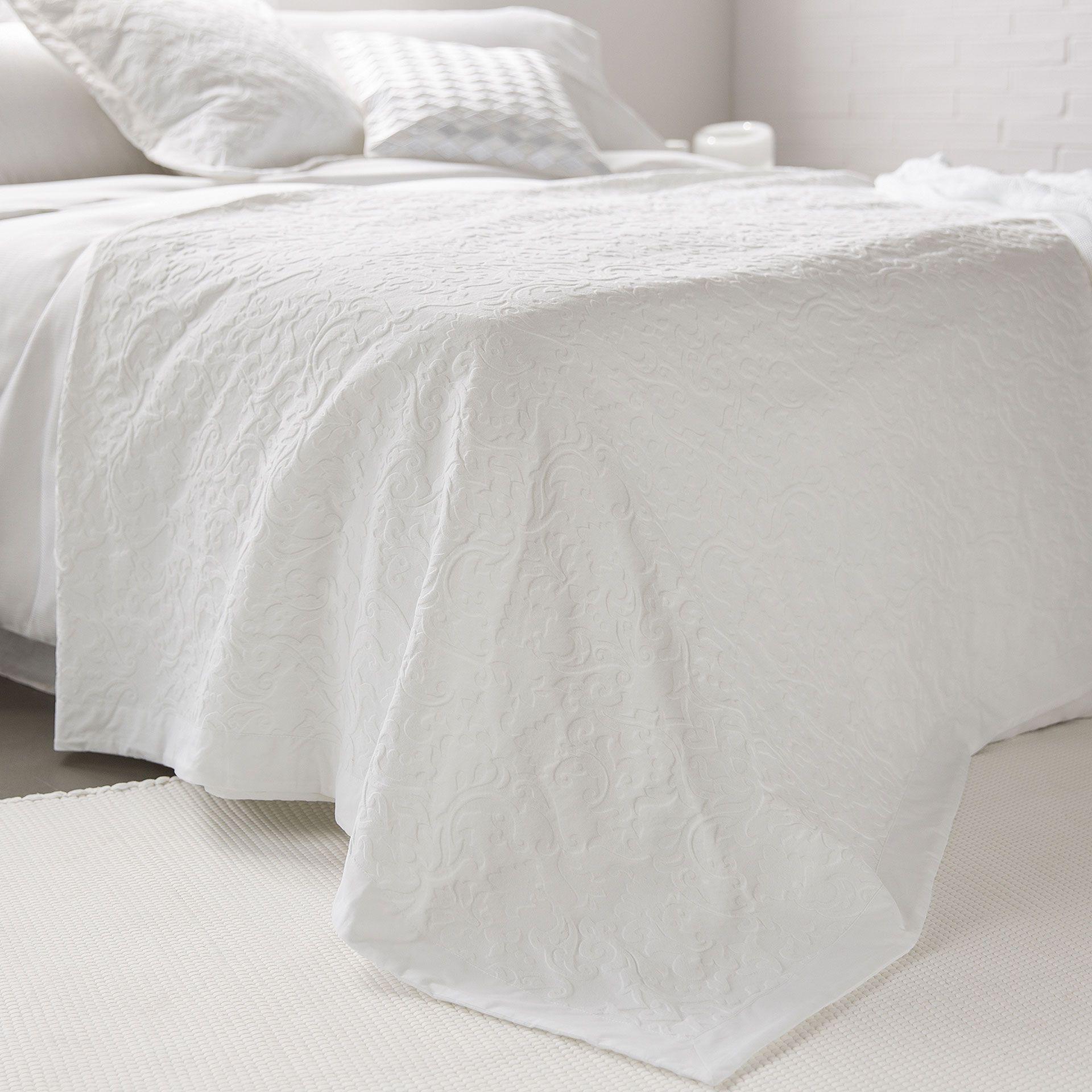 Tagesdecke Und Kissenbezug Aus Baumwolle Mit Damastprint Und