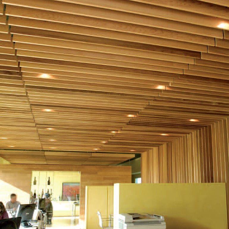 faux plafond acoustique en bois en lame courb linear grid hunter douglas deco. Black Bedroom Furniture Sets. Home Design Ideas