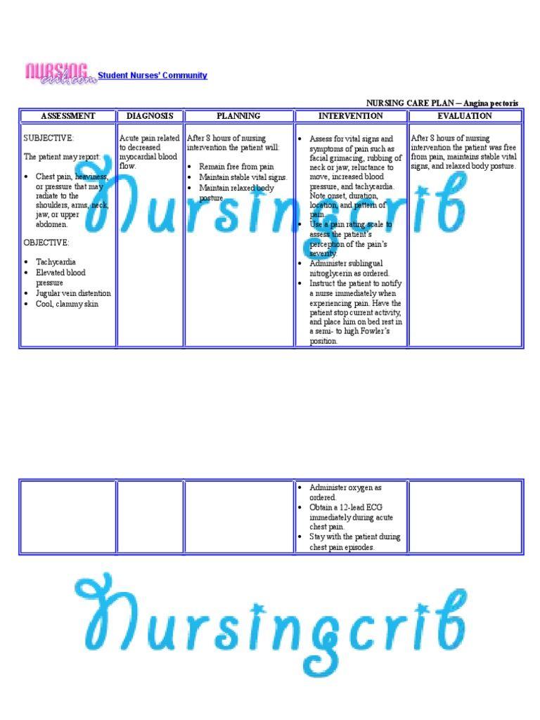 Nursing Care Plan for Angina Pectoris NCP Free download