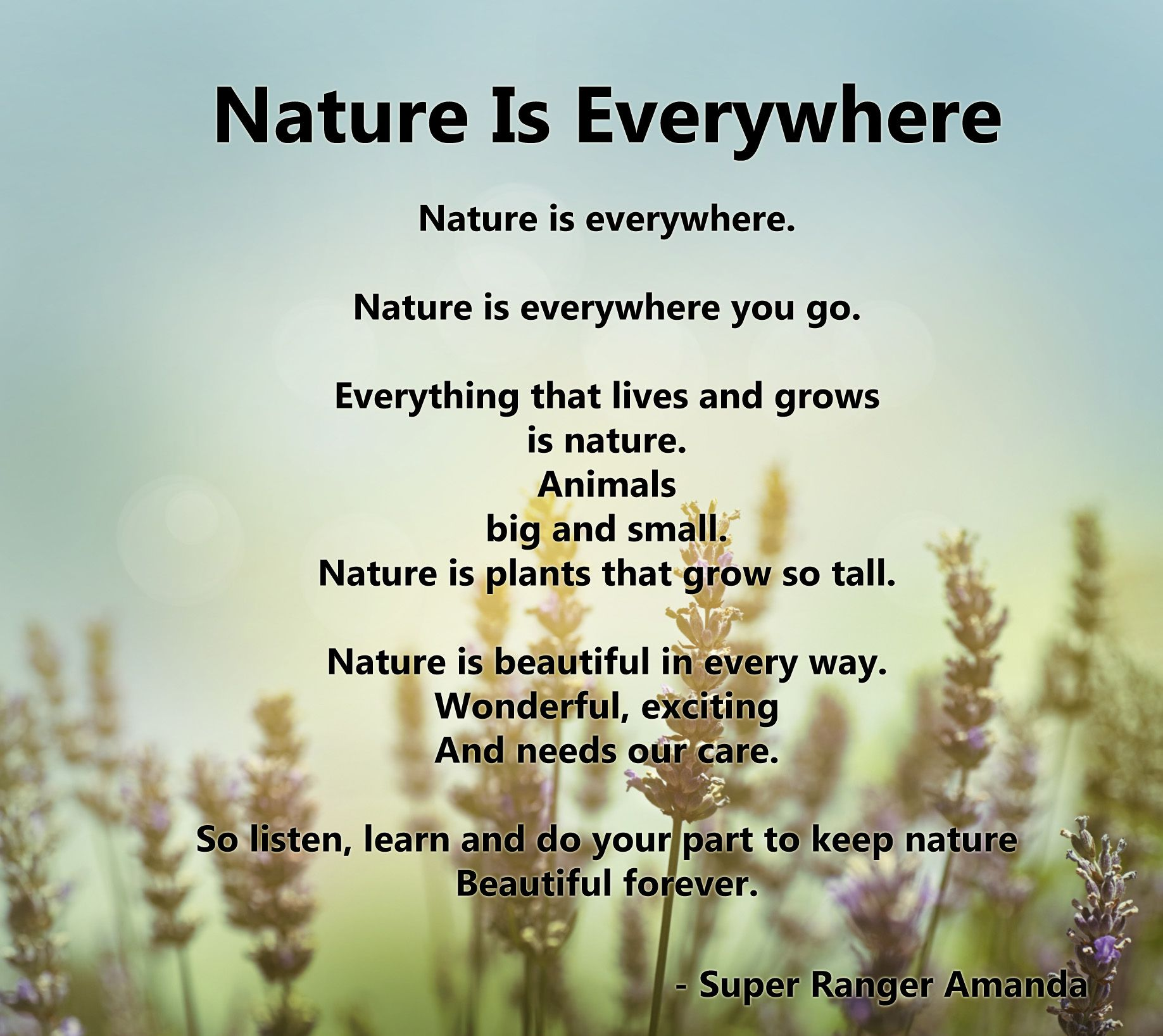 Nature is Everywhere, a poem by Super Ranger Amanda | Great Green ...