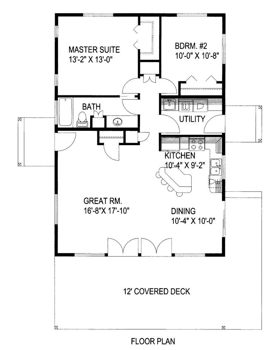 Home Plan 001 3097 1120 Heated Square Feet 2 Bed 1 Bath 28 00 Ft Width 40 00 Ft Dep Small House Floor Plans Cabin Floor Plans Tiny House Floor Plans