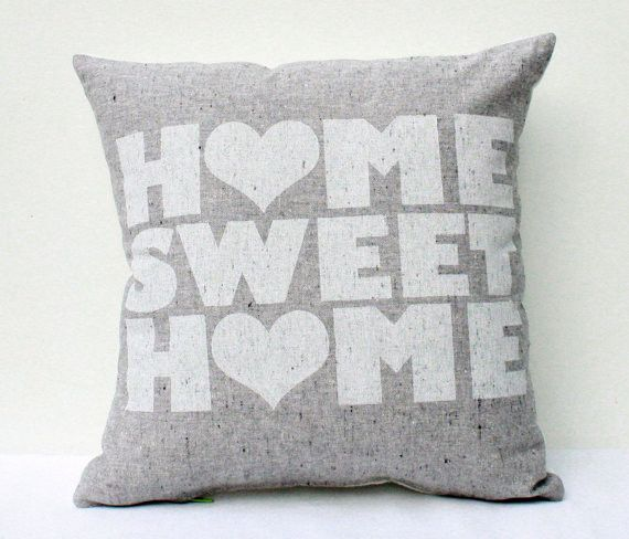 "misc: Home Sweet Home. 12""x12"" screen printed housewarming organic pillow. by earth cadets."