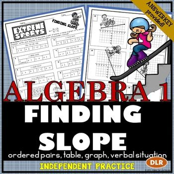 Finding Slope From Tables Graphs And Points Practice Worksheet