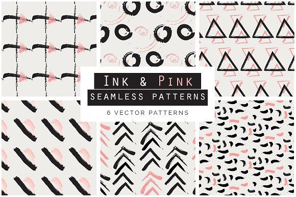 Ink & Pink Seamless Patterns by Youandigraphics on @creativemarket