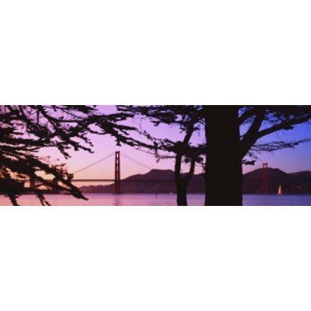 Suspension Bridge Over Water Golden Gate Bridge San Francisco California USA Canvas Art - Panoramic Images (18 x 6)