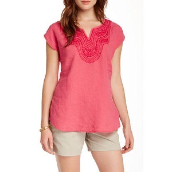 "Tommy Bahama Linen Tunic Strawberry color. Embellished-V-neck. Cap sleeve. straight hemline. 29"" length. 100% linen. EUC Tommy Bahama Tops Tunics"
