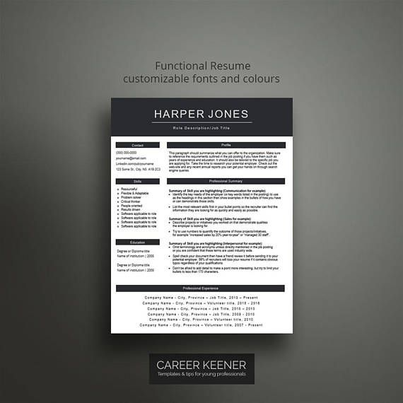 Creative resume template \/ cv template Functional resume, cover - template functional resume