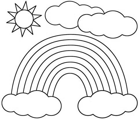 This rainbow sun and clouds coloring page features a picture of a rainbow sun and clouds to color the coloring page is printable and can be used in the