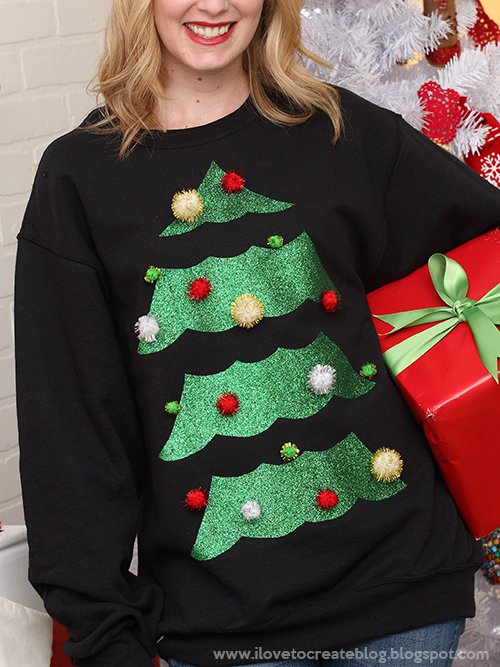 3502c088afa68d iLoveToCreate Blog: Glitter Christmas Tree Ugly Sweater | Ugly ...
