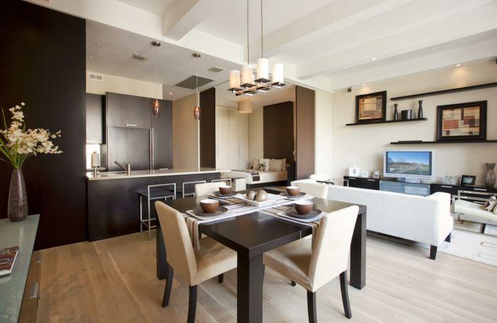wohnküche mit essbereich und kleinem wohnzimmer in braun weiß - wohnzimmer in weiss braun