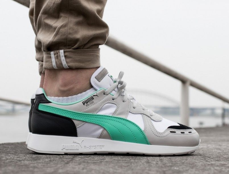 new product f7bee 6df3f Puma RS-100 RE-INVENTION gray violet biscay green on feet 1 ...