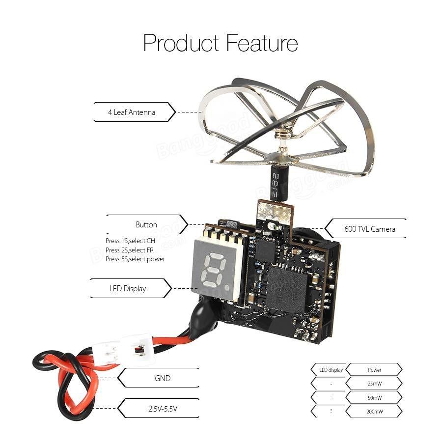 Eachine TX03 PAL Super Mini 0/25mW/50mW/200mW Switchable AIO 5.8G ...
