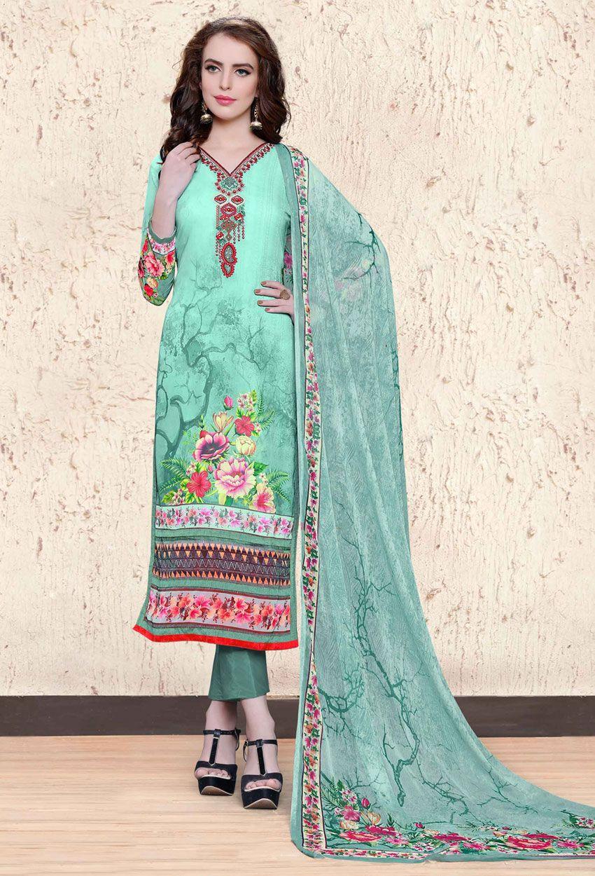 Semi Stitched Aqua Blue Chiffon Printed Shalwar Kameez | Pinterest ...