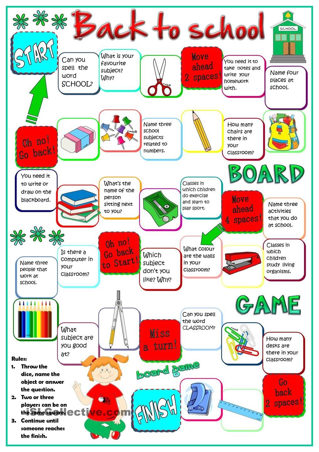 Back To School Board Game English Primary School