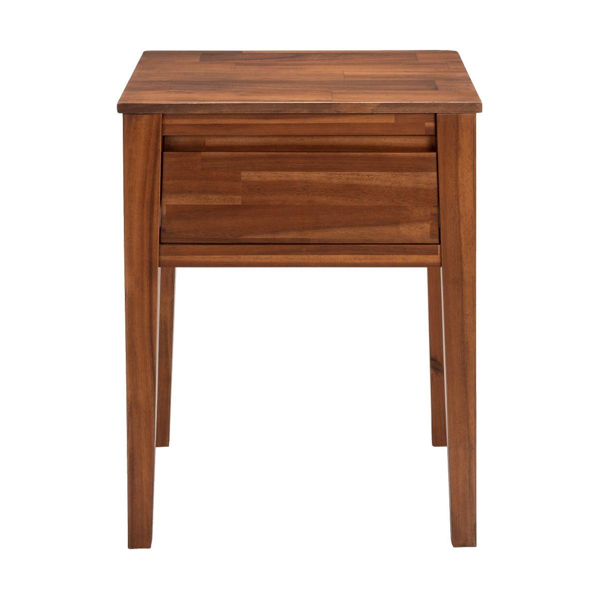 Table De Chevet En Acacia Massif 1 Tiroir Alinea Table De Chevet Chevet Et Tiroir