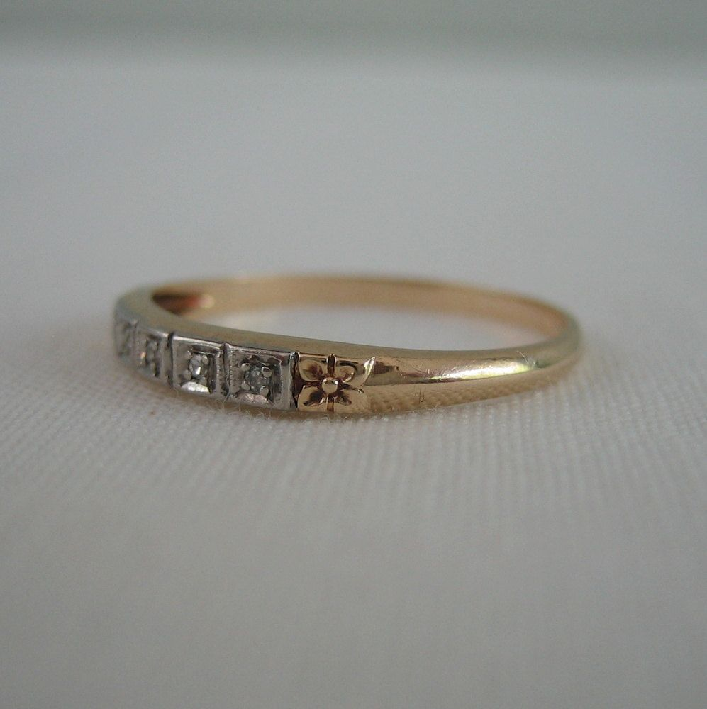 two tone wedding band Vintage Diamond Wedding Band Floral Design in Two Tone White and Yellow Gold Addy
