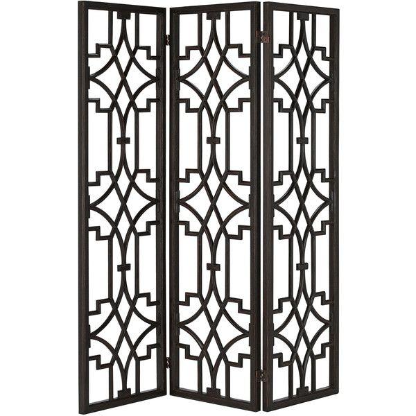 Liadan Global Bazaar Black Wood Open Trellis Floor Screen (4,080 CAD
