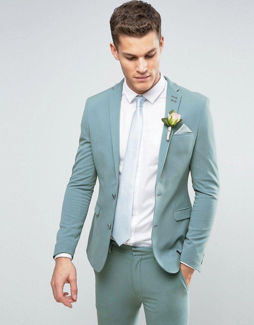 ASOS WEDDING Super Skinny Suit Jacket In Pastel Blue - Green ...