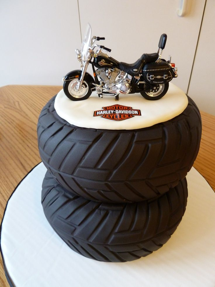 This awesome Harley Davidson cake was a fun cake to make for a