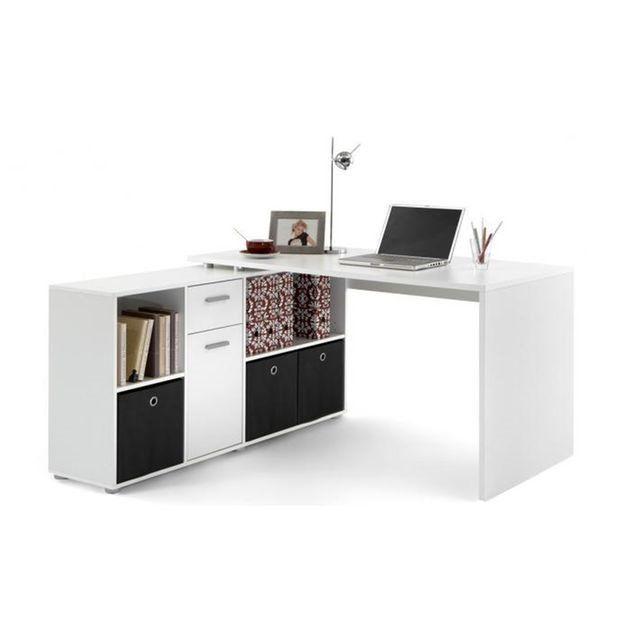 Bureau d 39 angle r versible rob blanc bureaux chambres bureau bureau angle et coin bureau for Bureau d angle enfant