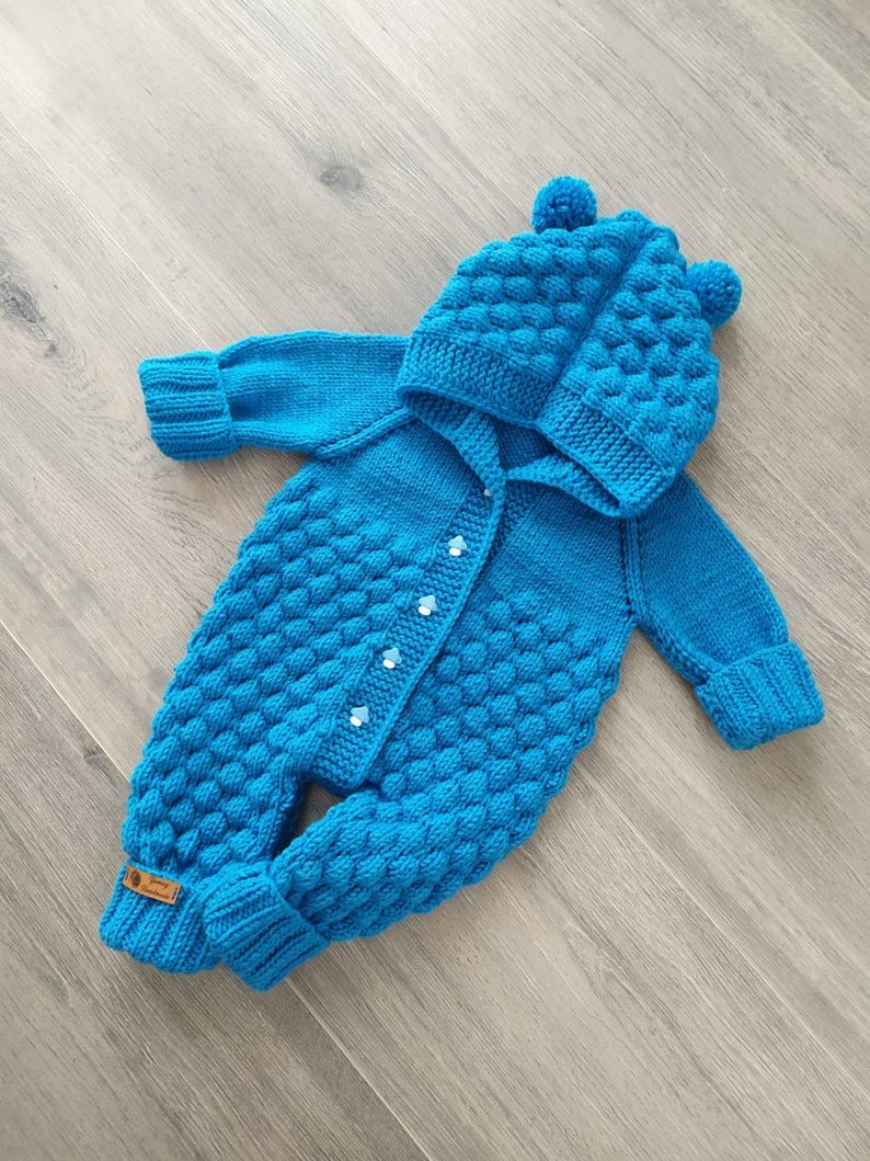 Knitted Jumpsuit, Hooded Baby Romper, Newborn Wint
