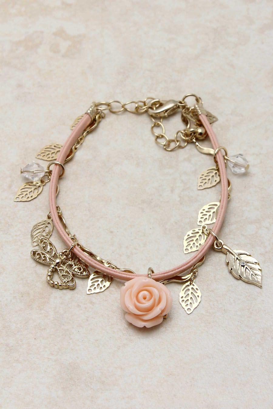 7756f45b0420c Blush Shimmering Rose Charm Bracelet   Emma Stine Jewelry Set   pulseiradeouro  pulseirasdeouro  pulseiras  pulseira