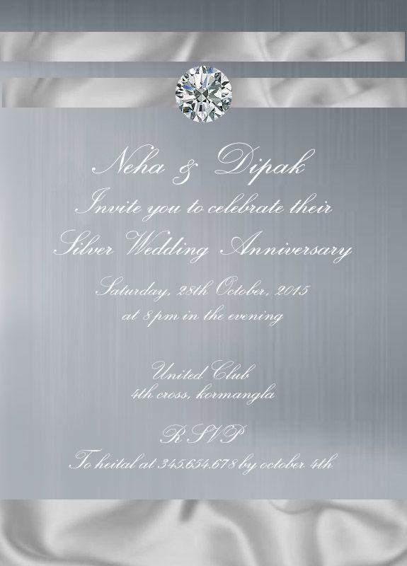 Retro Silver 2Th Wedding Anniversary Invitation Card | 25Th Silver