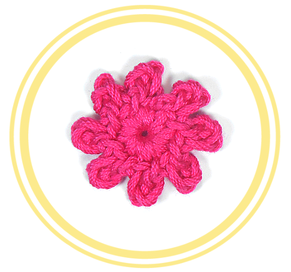 Eight Petal Crochet Flower Mini Crochet Flowers Pinterest
