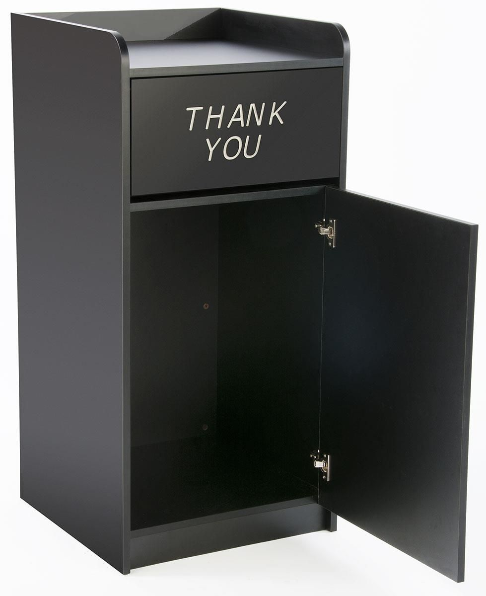 36 Gallon Trash Receptacle w/ Hinged Opening, Tray Top Holder - Black