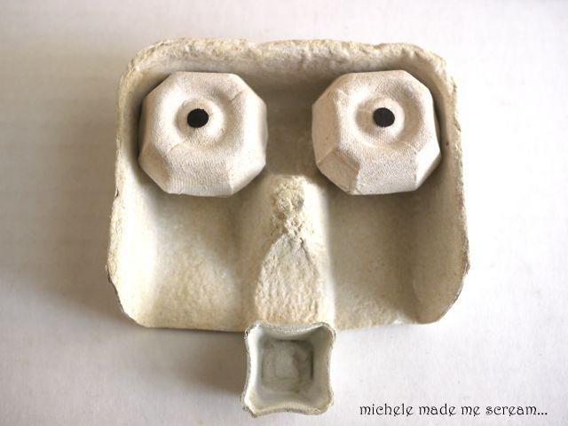howling halloween egg carton masks michele made me - Halloween Cartons