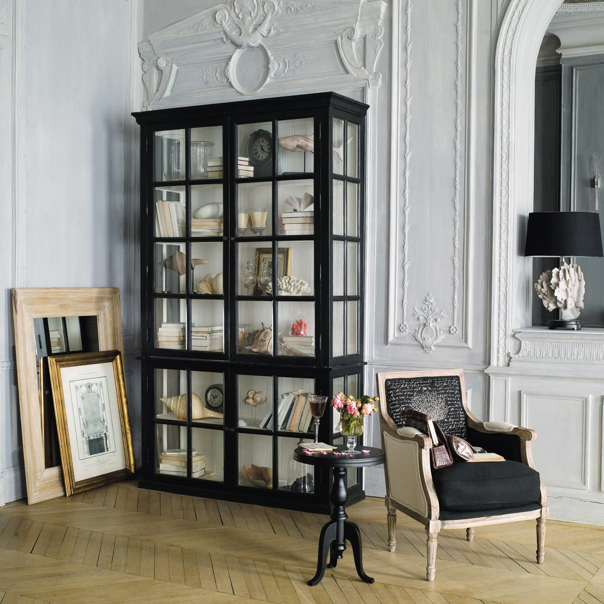 b cherregal mit 4 verglasten t ren aus schwarzem mangoholz in 2019 decor style bookcase with