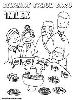 Mewarnai Makan Bersama Keluarga Saat Perayaan Imlek Mewarnai Di