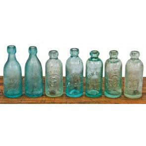 lot of chicago privy dug c. 1880's-1890's aqua blue glass blobtop bottle fabricated for an assortment of chicago bottlers