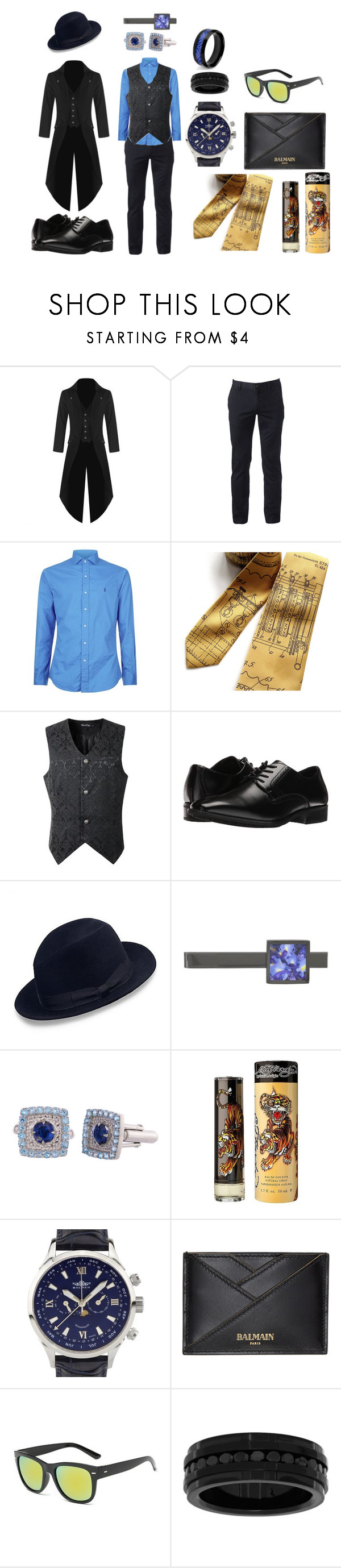 """Edmund Starter"" by quartyque ❤ liked on Polyvore featuring Urban Pipeline, Polo Ralph Lauren, Stacy Adams, Brooks Brothers, Ed Hardy, Balmer, Balmain, Lord & Taylor and West Coast Jewelry"
