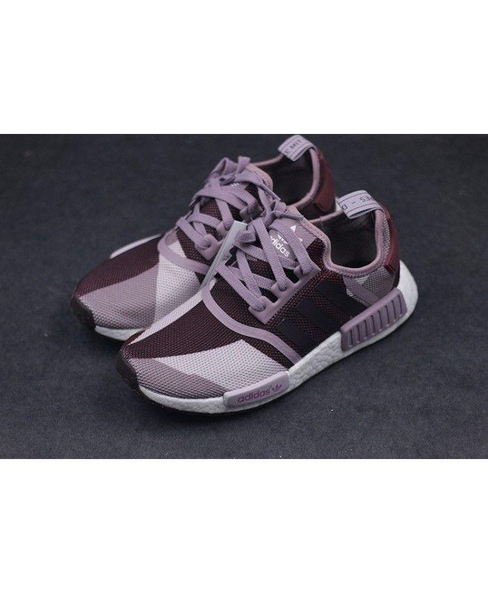 femme adidas nmd r1 blanche violet / blanche violet / nuit rouge s75721