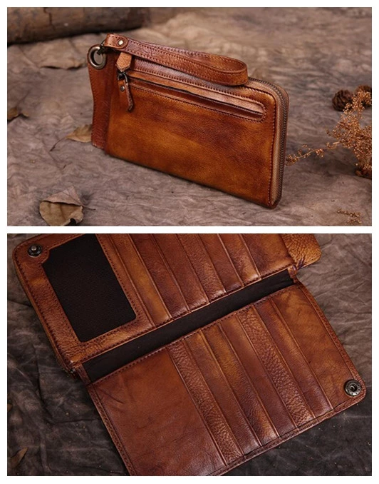 Handmade Long Yellow Brown Leather Wallet Leather Purse Card Holder iP – LISABAG #leatherwallets