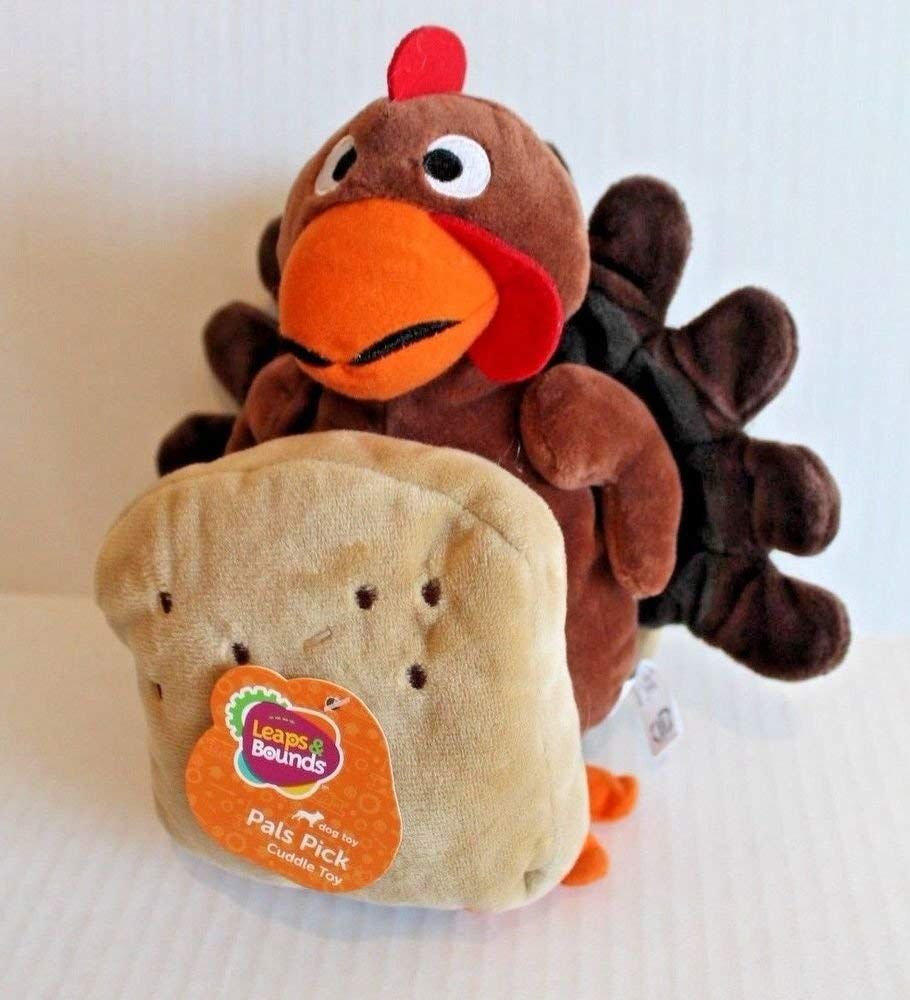 Leaps And Bounds Plush Turkey Sandwich Dog Toy Thanksgiving Cuddle