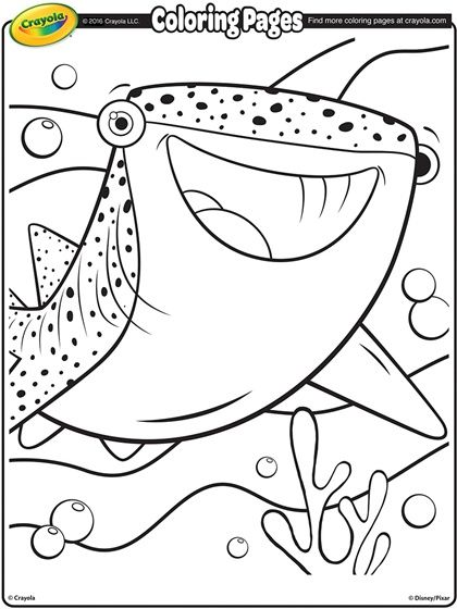 Finding Dory Destiny The Whale Shark On Crayola Com Whale Coloring Pages Shark Coloring Pages Free Coloring Pages